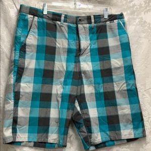 Hurley Teal and Black Check Shorts sz 36 GUC
